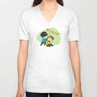 mini V-neck T-shirts featuring Mini trek by Irene Flores