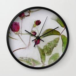 Frozen roses Wall Clock