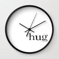 hug Wall Clocks featuring hug by giftedfools design studio