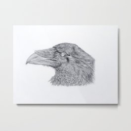 A Crow Listens Metal Print