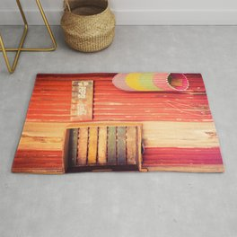 Items On A Corrugated Iron Wall Rug