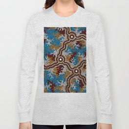 Authentic Aboriginal Art - Wetland Dreaming Long Sleeve T-shirt