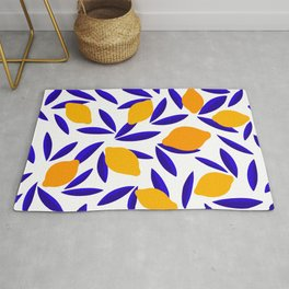 Blue and yellow Lemon Summery Pattern Rug