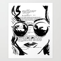 almost famous Art Prints featuring Almost Famous Screenplay Portrait by Josh Abraham