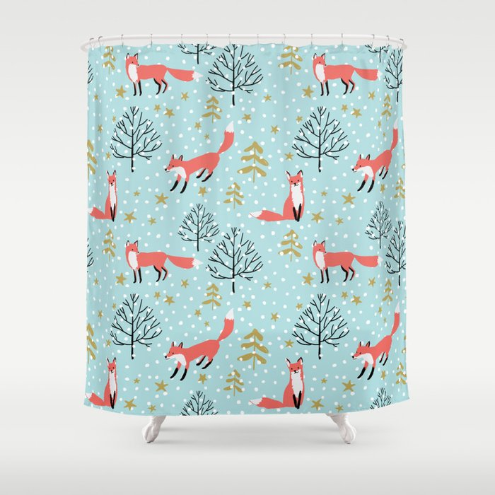 Red foxes in the blue winter forest with snow Shower Curtain