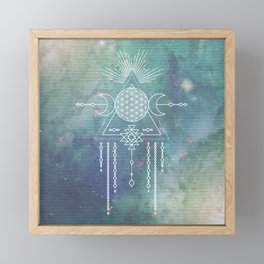 Mandala Flower of Life in Turquoise Stars Framed Mini Art Print