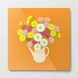 summer bouquet in the teapot on the orange Metal Print