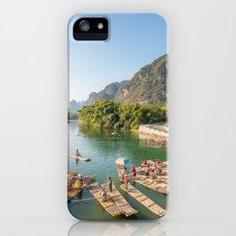 Tourist bamboo rafts in Yangshuo Guilin iPhone Case