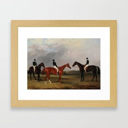 John Dalby (1810-1865)  A chestnut and two bay racehorses belonging to John Bowes with jockeys up Framed Art Print