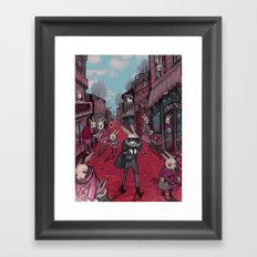Bunnies of Valentine Day Town.  Framed Art Print