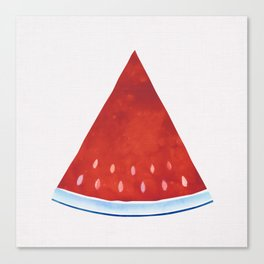 Summer Slice - Red and Blue Watermelon Watercolor Canvas Print