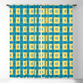 Pixelated Squares - Yellow and azure pattern Blackout Curtain