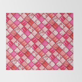 Faux Patchwork Quilting - Pink and Red Throw Blanket
