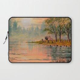 Elk Beside A misty River Laptop Sleeve