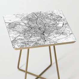 Madrid White Map Side Table