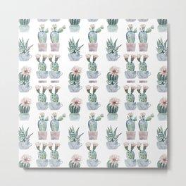 Girly Rose Cactus Pots Metal Print