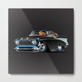 Classic hot rod fifties muscle car with cool couple cartoon Metal Print