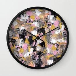 Modern acrylic brushstrokes pink salmon gold black white hand painted Wall Clock