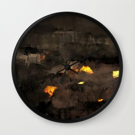 Abstract landscape nature texture lava fire geology digital illustration Wall Clock