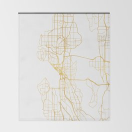 SEATTLE WASHINGTON CITY STREET MAP ART Throw Blanket
