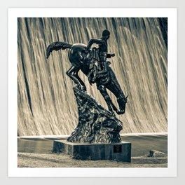 Mountain Man and Evergreen Colorado Lake Dam Waterfall in Sepia 1x1 Art Print