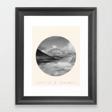 Life Is A Journey (Black & White) Framed Art Print