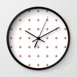PLUS ((cherry red on white)) Wall Clock
