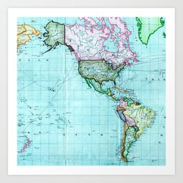 Turquoise Map Pattern Art Print