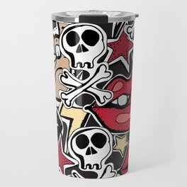 Seamles pattern. Crazy punk rock abstract background. Skulls, guitars, rock symbols. Travel Mug