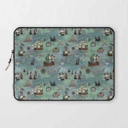 Pirate Ships Nautical Map Laptop Sleeve