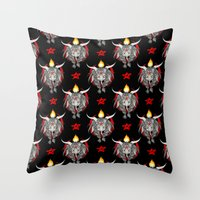 baphomet Throw Pillows featuring Baphomet V1 by Savannah Horrocks
