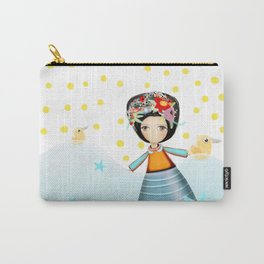 Frida and Ducks Yellow Polka Dots Carry-All Pouch