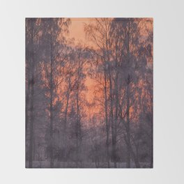 Winter Scene - Frosty Trees Against The Sunset #decor #society6 #homedecor Throw Blanket