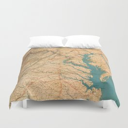 Vintage Map of Virginia and The Chesapeake Bay (1862) Duvet Cover