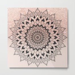 Boho black watercolor floral mandala rose gold glitter ombre pastel blush pink Metal Print