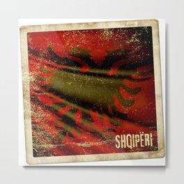 Grunge sticker of Albania flag Metal Print