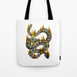 rattlesnake on fire! Tote Bag