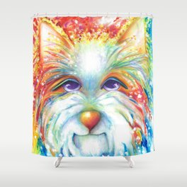 West Highland White Terrier Westie Dog Winston abstract dog art Shower Curtain