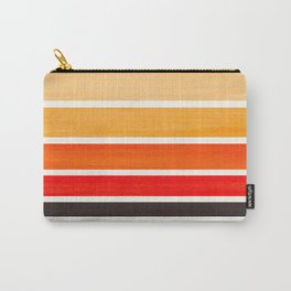 Orange Minimalist Mid Century Modern Color Fields Ombre Watercolor Staggered Squares Carry-All Pouch