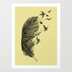 Feather Birds BW Art Print