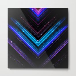 Sparkly metallic blue and purple galaxy lines Metal Print
