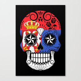 Sugar Skull with Roses and Flag of Serbia Canvas Print