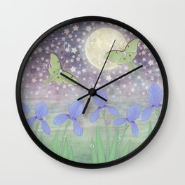 luna moths around the moon with starlit irises Wall Clock