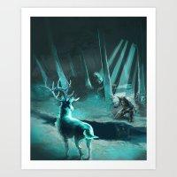 Elk and Soldier Art Print