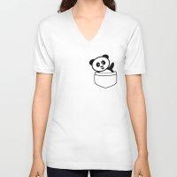 pocket V-neck T-shirts featuring Pocket panda by Jaxxx