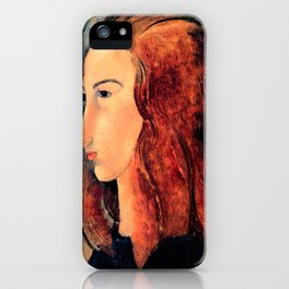 """Amedeo Modigliani """"Portrait of a young woman (Profile of Jeanne Hebuterne)"""" iPhone Case"""