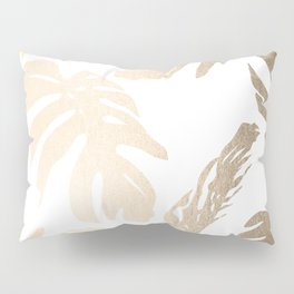 Simply Tropical Palm Leaves in White Gold Sands Pillow Sham