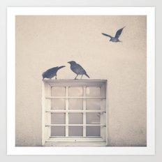 Let me be a bird in your window - vintage retro, beige cream, urban, black and white photography Art Print