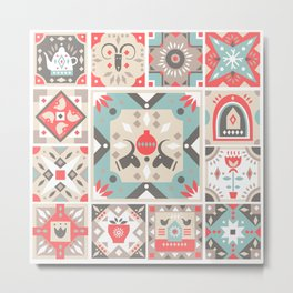 Custom Beautiful Multicolor Hanukkah Holiday Pattern Metal Print