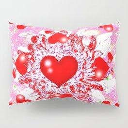 Red Hearts Valentines & Pink Art Patterns Pillow Sham
